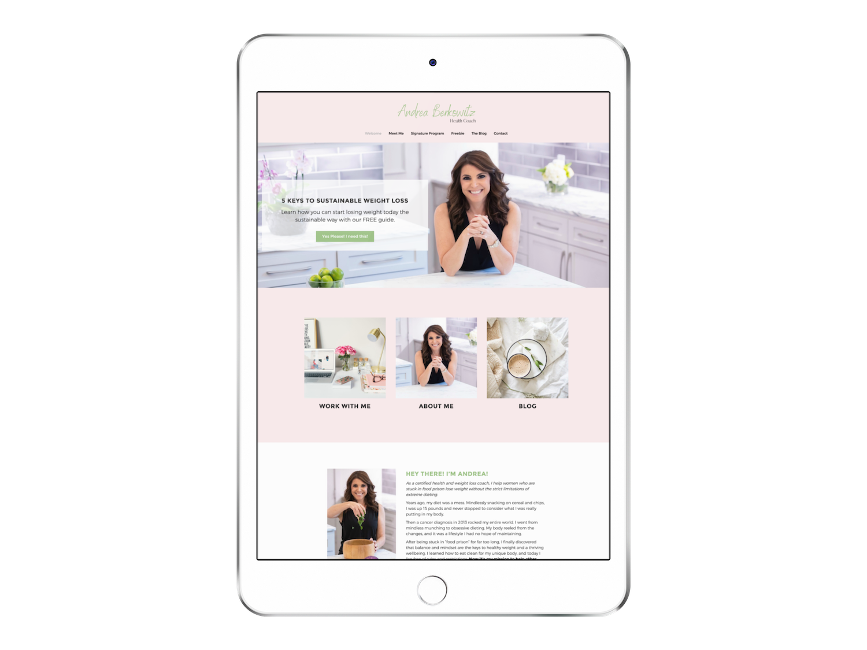 Andrea, Beautiful Health Coaching Website ipad
