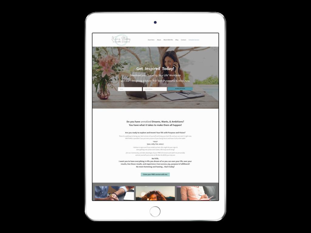 Kacey Life Coaching Website Design ipad mokcup