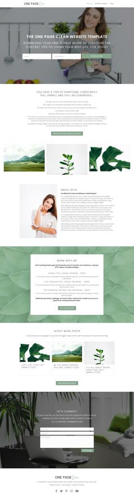 One Page Clean website design Screenshot