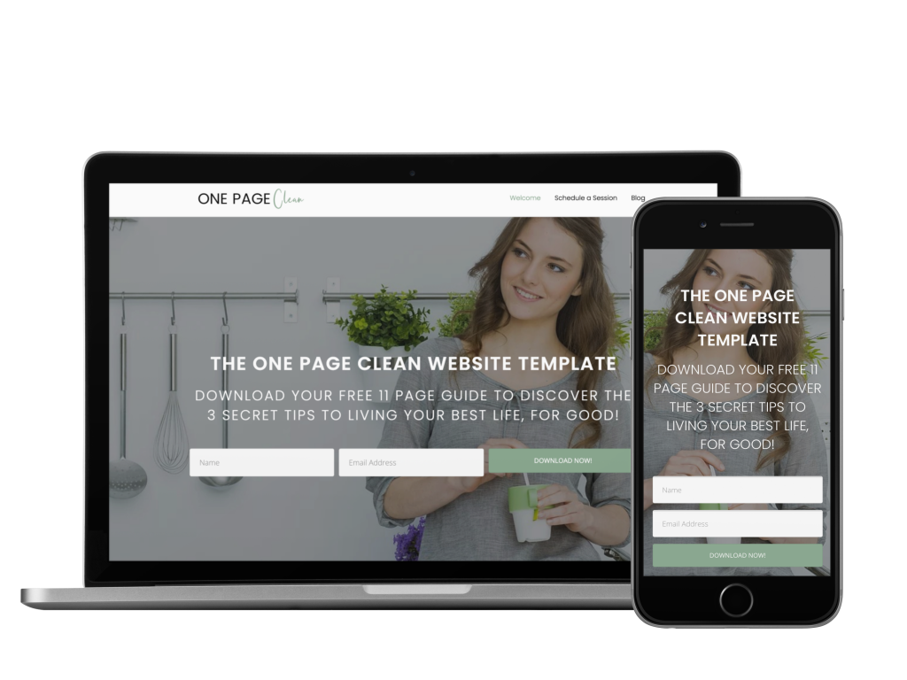 One Page Clean website design for coaches