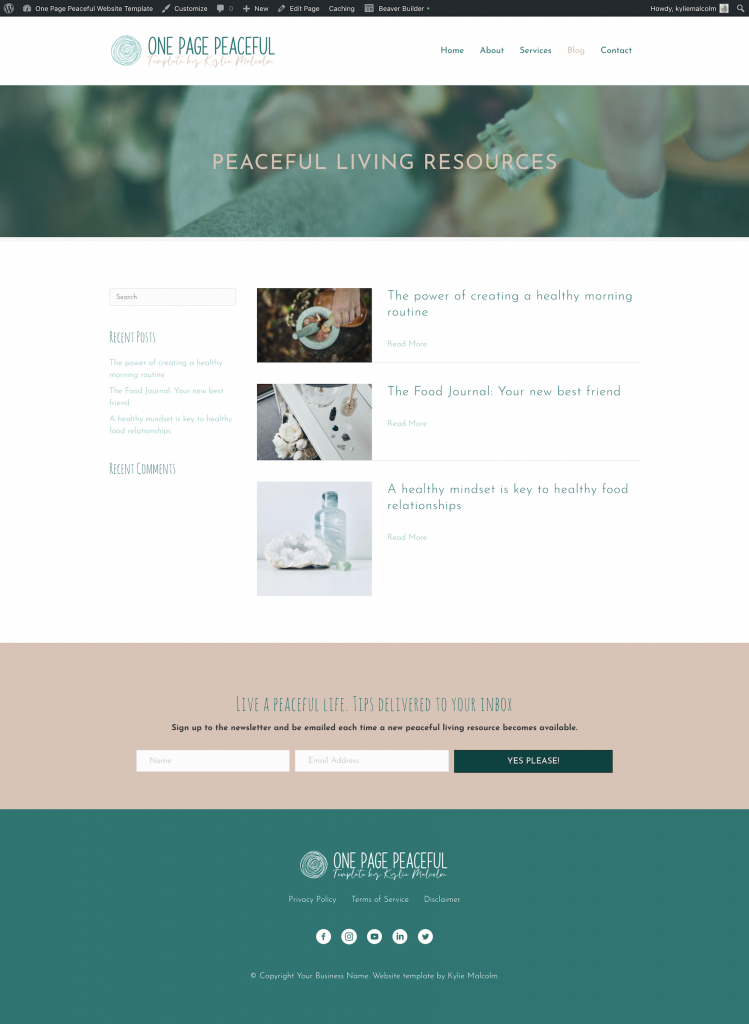 One Page Peaceful Website Design Template for Coaching BLOG