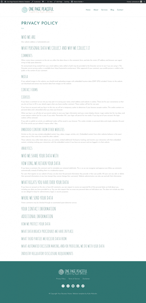 One Page Peaceful Website Design Template for Coaching Privacy Policy