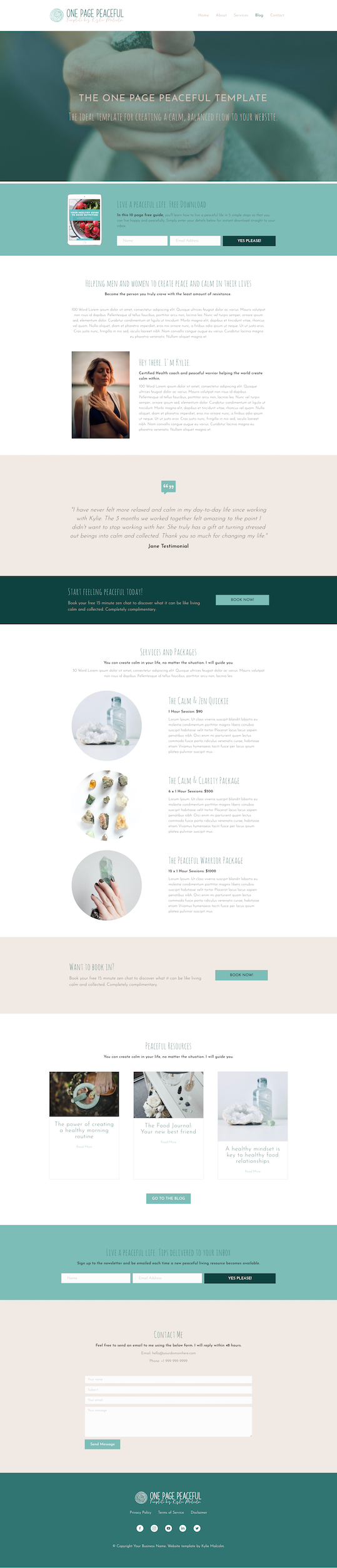 One Page Peaceful Website Design Template for Coaching