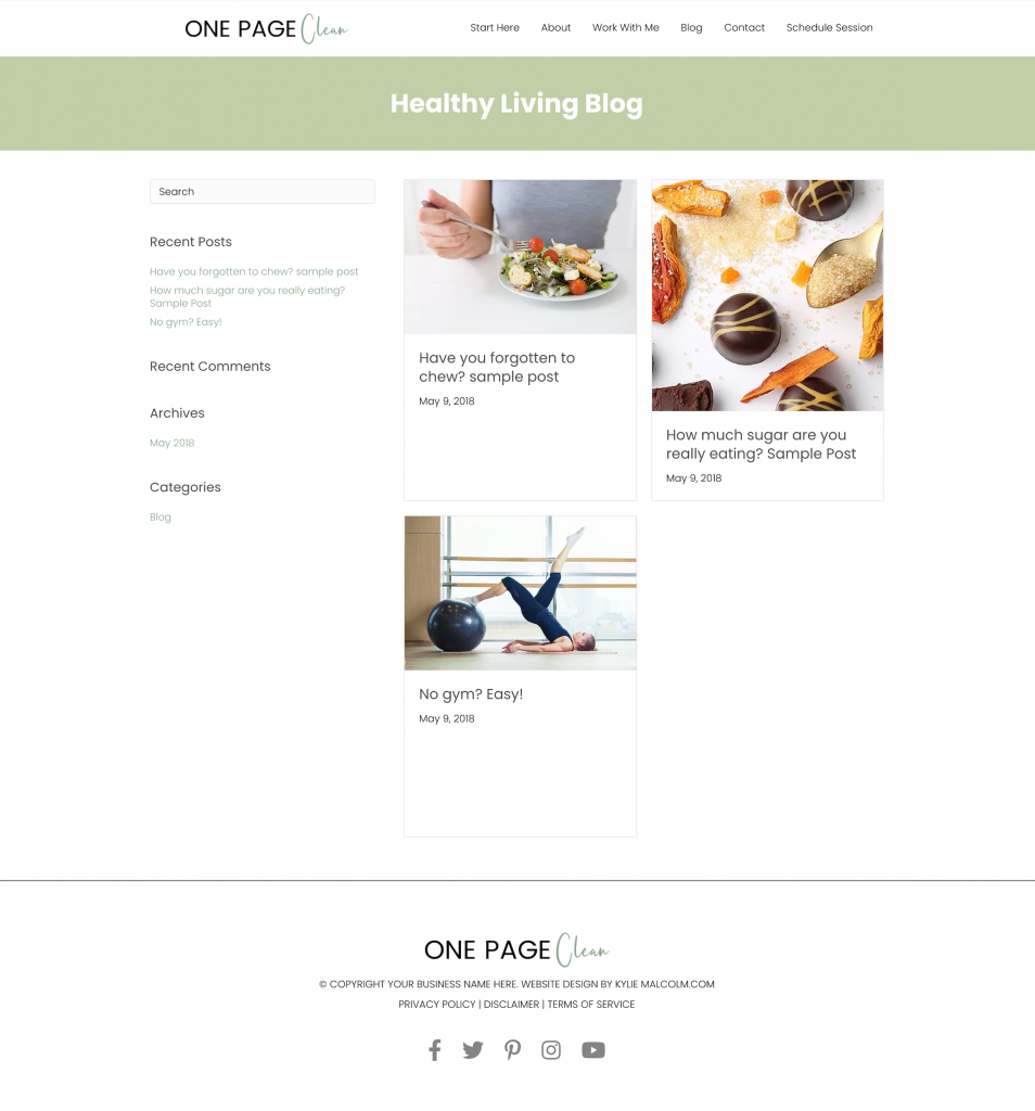 One page clean website design template blog