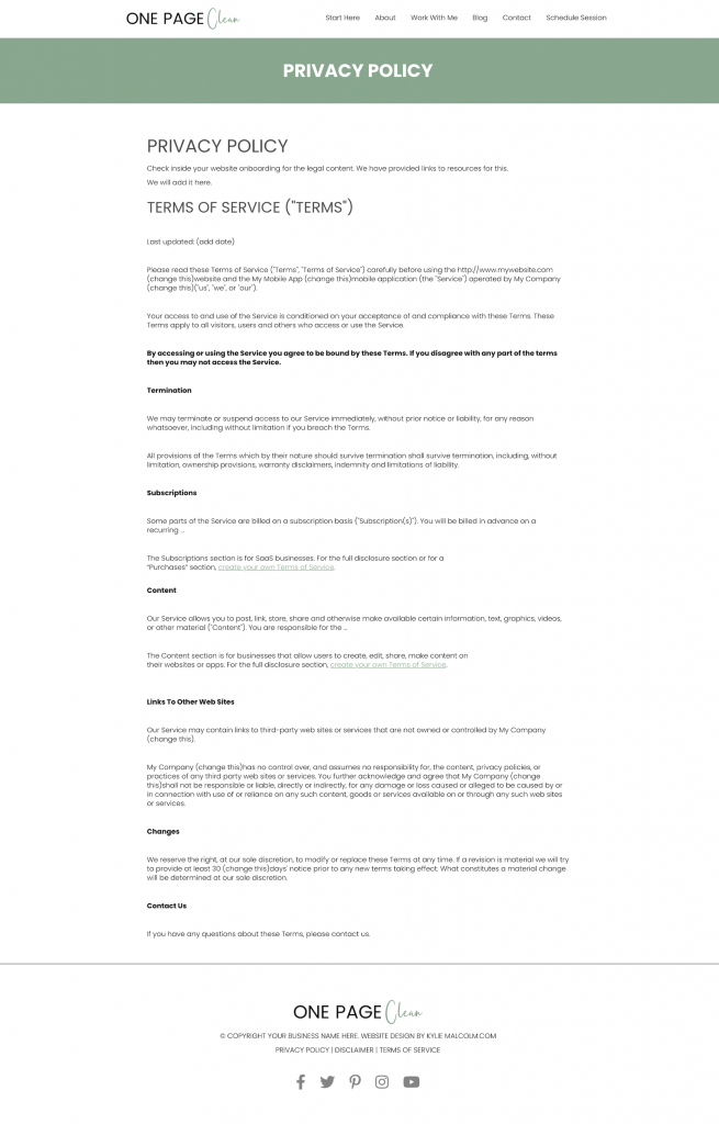One page clean website design template privacy
