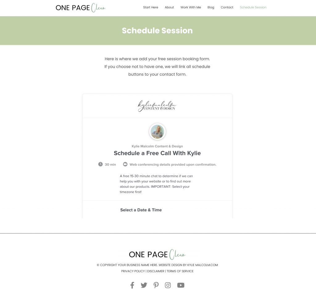 One page clean website design template schedule
