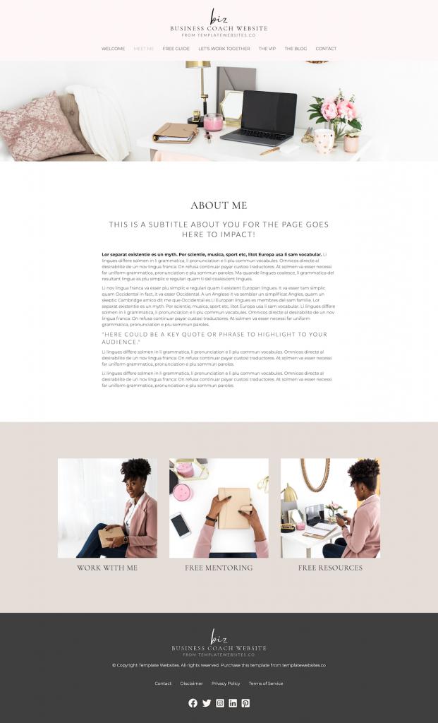 business coach template website design about