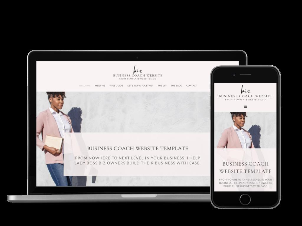 business coach template website design mockup 1