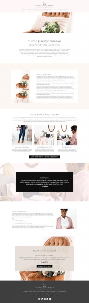 business coach template website design sales page
