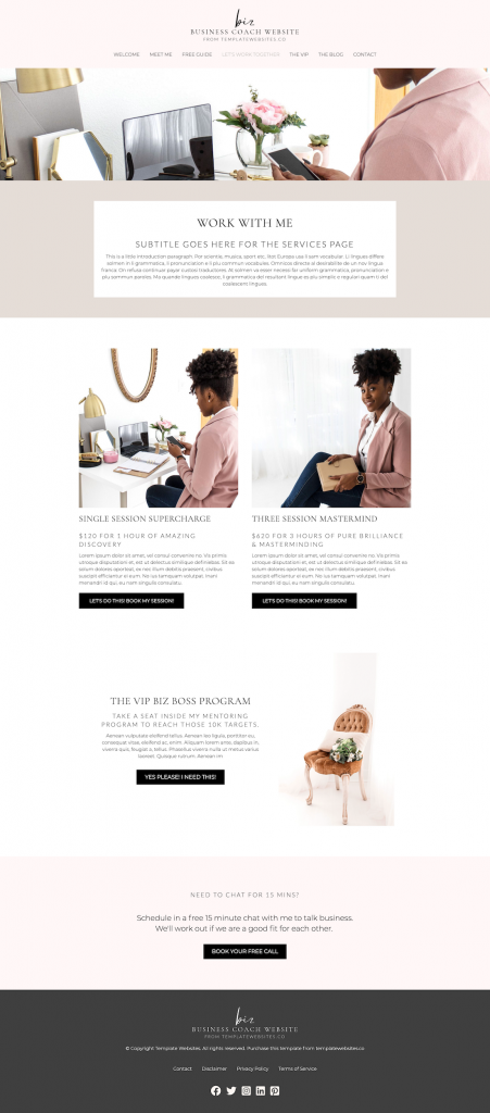 business coach template website design work with me