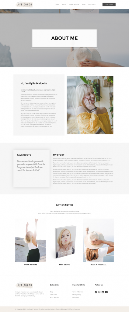 Life Coach website template about page