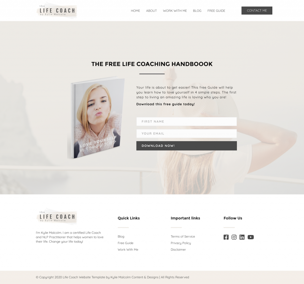 Life Coach website template free lead magnet
