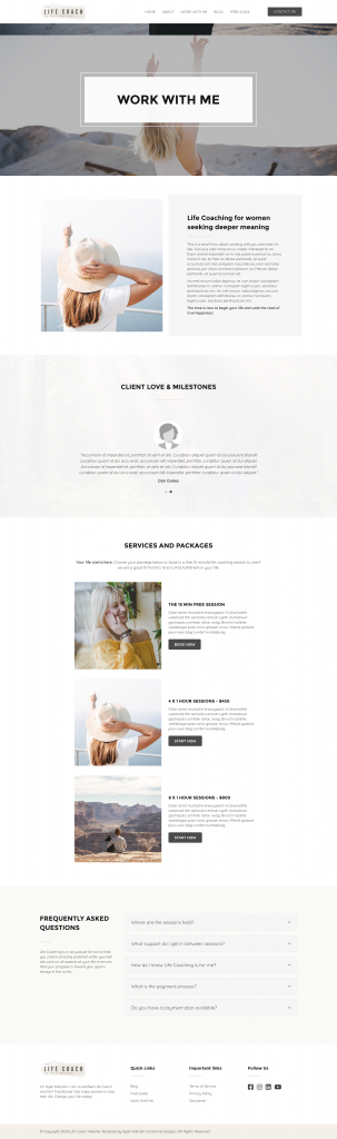 Life Coach website template services page
