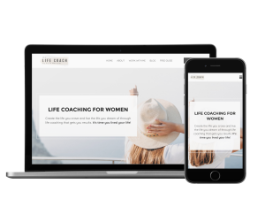 Life coach website template mockup