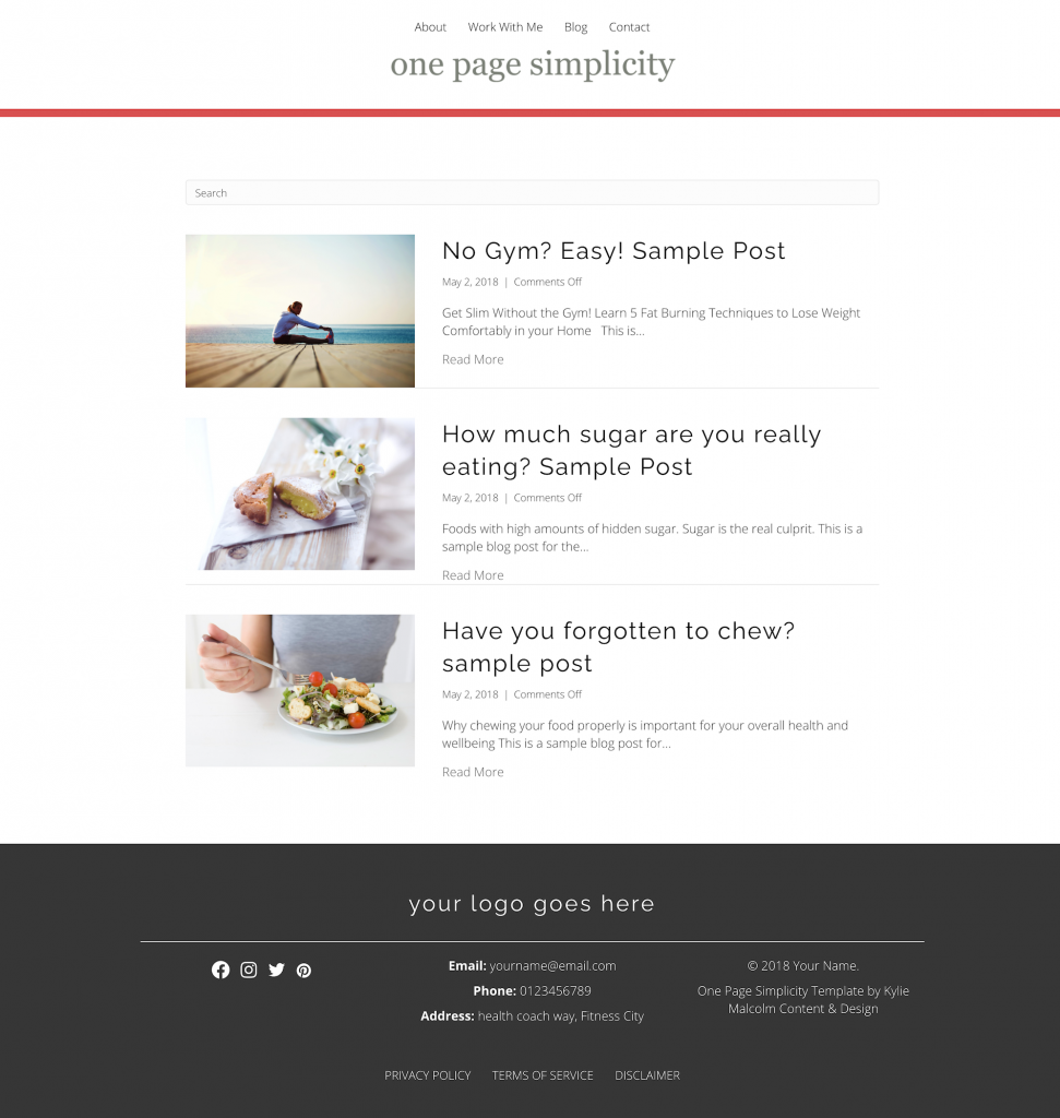 One Page Simplicity Website Template - simple one page website template design blog page