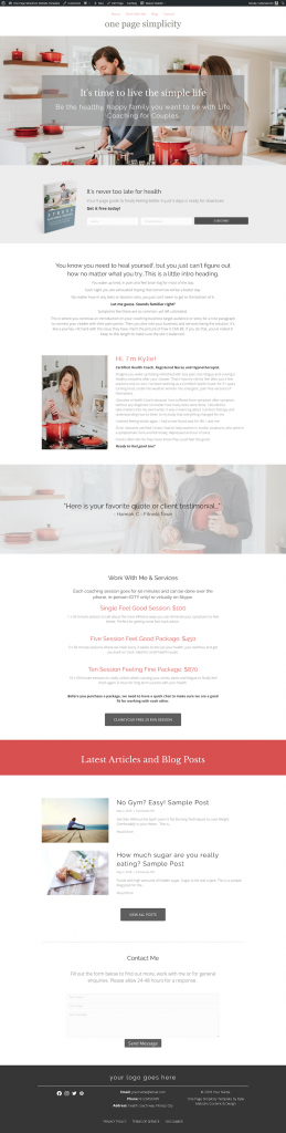 One Page Simplicity Website Template - simple one page website template design screenshot