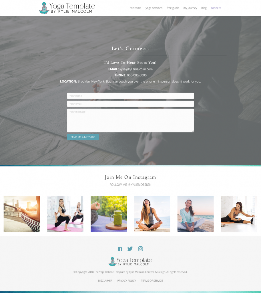 The Yoga Website Template Contact Page