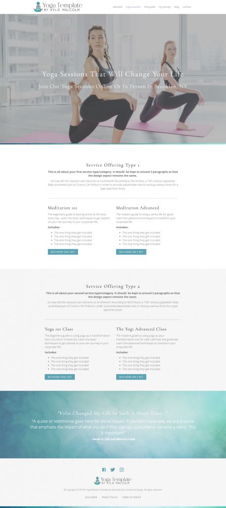 The Yoga Website Template Services Page
