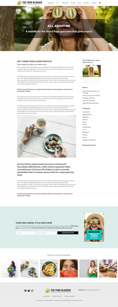 Food Blog Website Template Design about