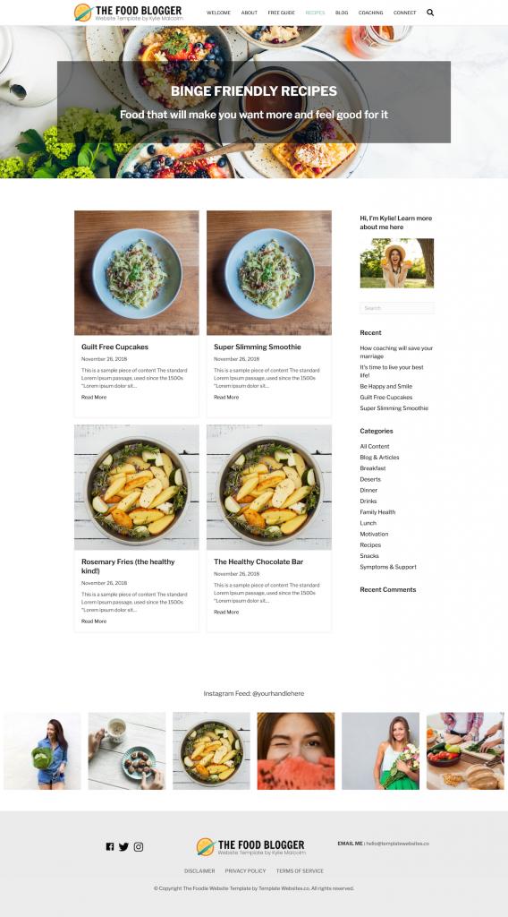 Food Blog Website Template Design recipes