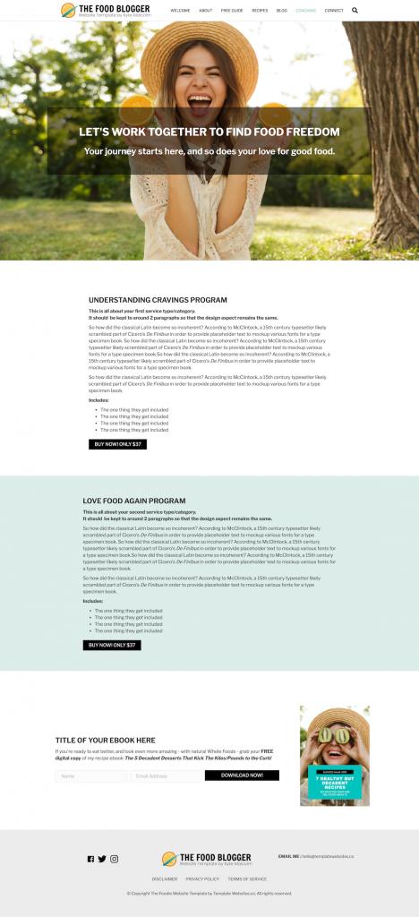 Food Blog Website Template Design ser ices