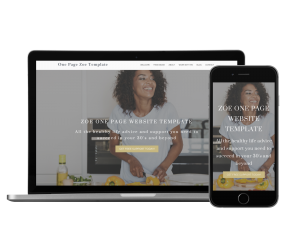 Zoe One Page Website Template for Coaches mockup