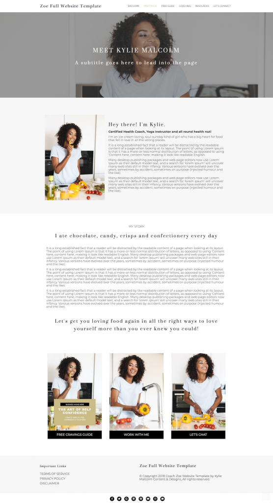 zoe full website template design for coaches about