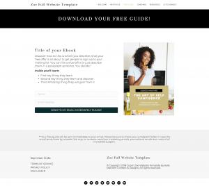 zoe full website template design for coaches freebie