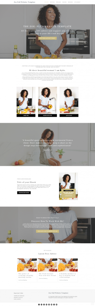 zoe full website template design for coaches home