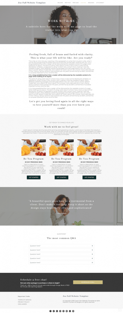zoe full website template design for coaches services