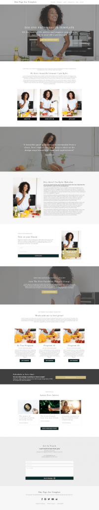 zoe sophisticated one page website template