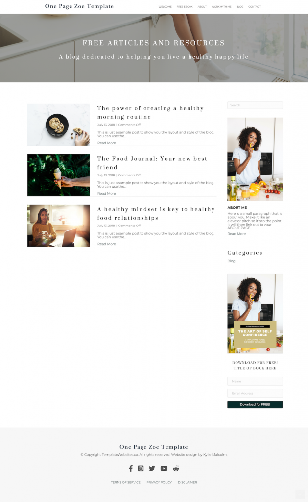 zoe sophisticated one page website template blog