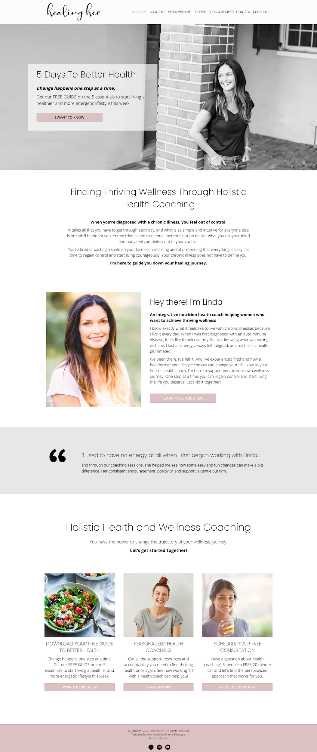 Holistic Health coach website design 2