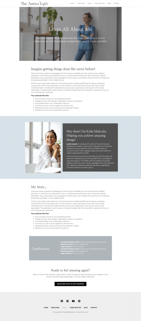 About Amira Modern clean website template for coach