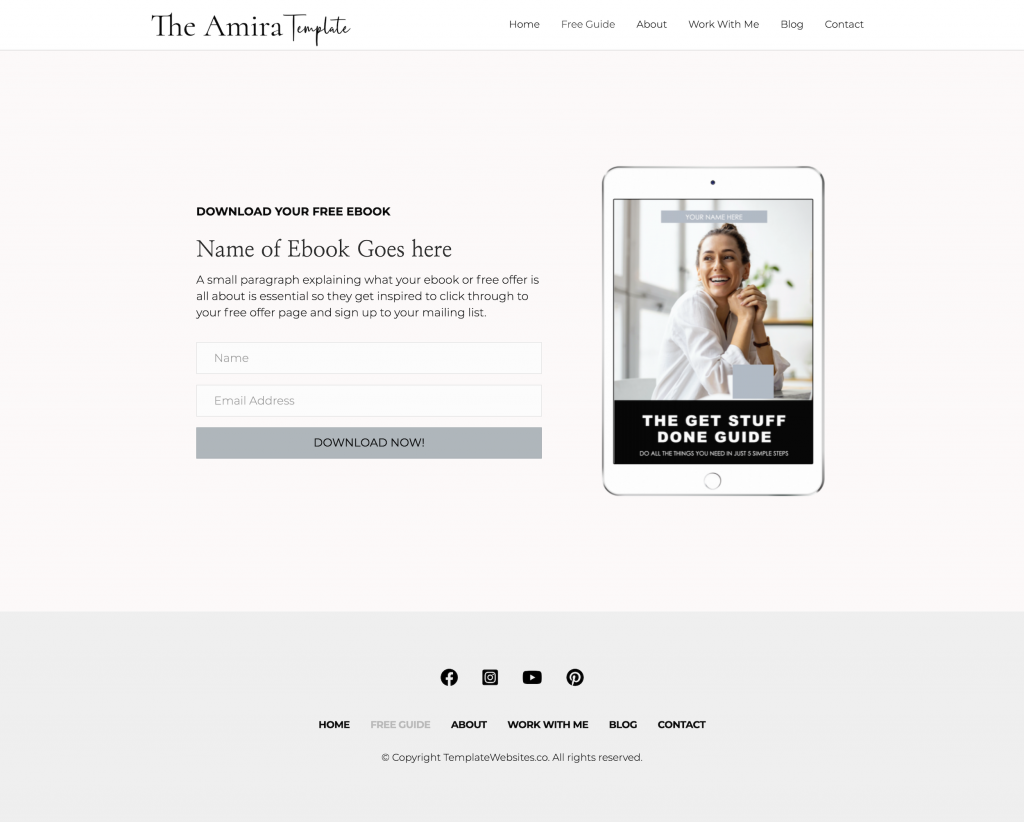 Freebie Amira Modern clean website template for coach