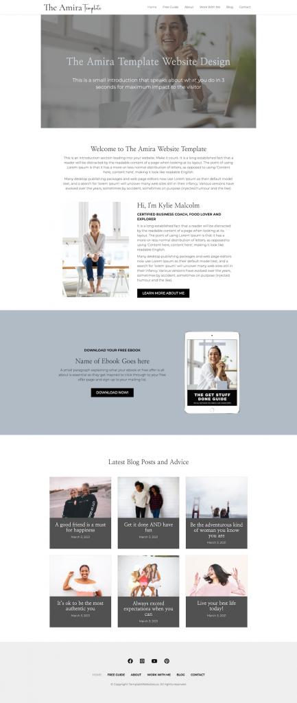 Home Amira Modern clean website template for coach