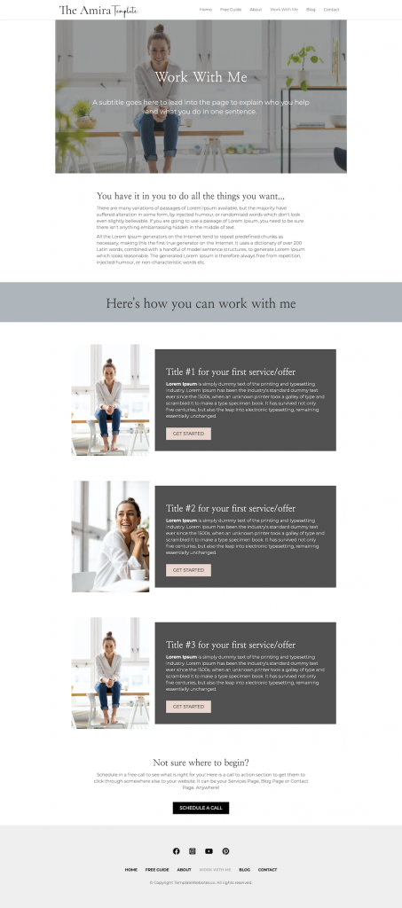 Services Amira Modern clean website template for coach