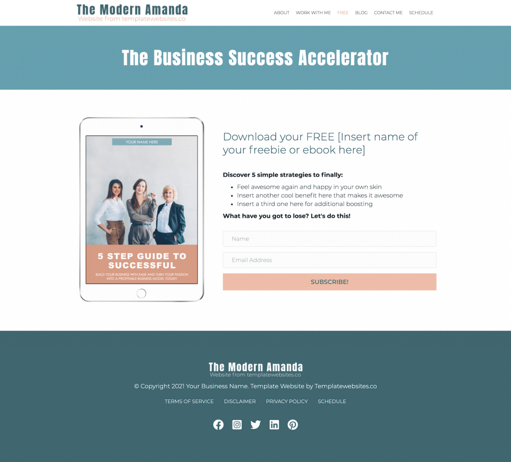 The Amanda Modern Website Template - Free
