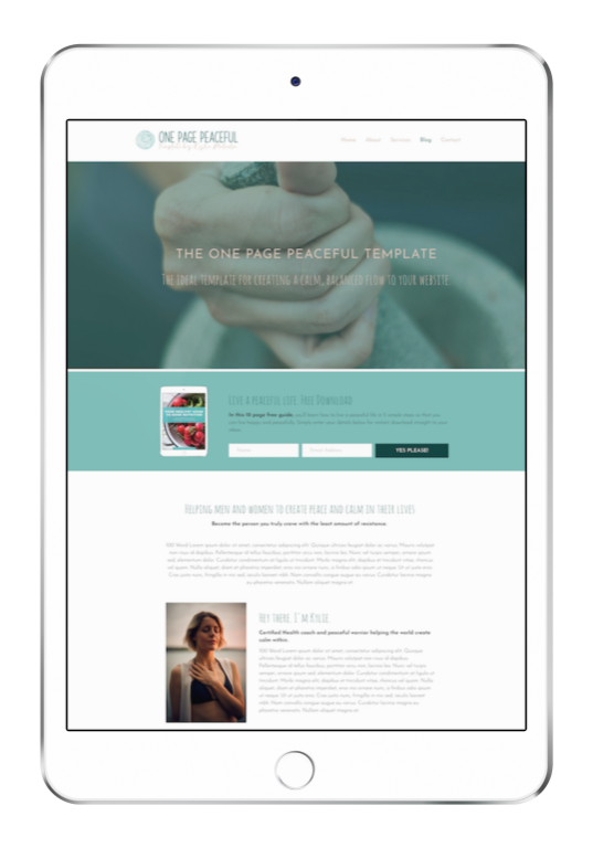 One Page Peaceful Website Design Template for Coaching ipad