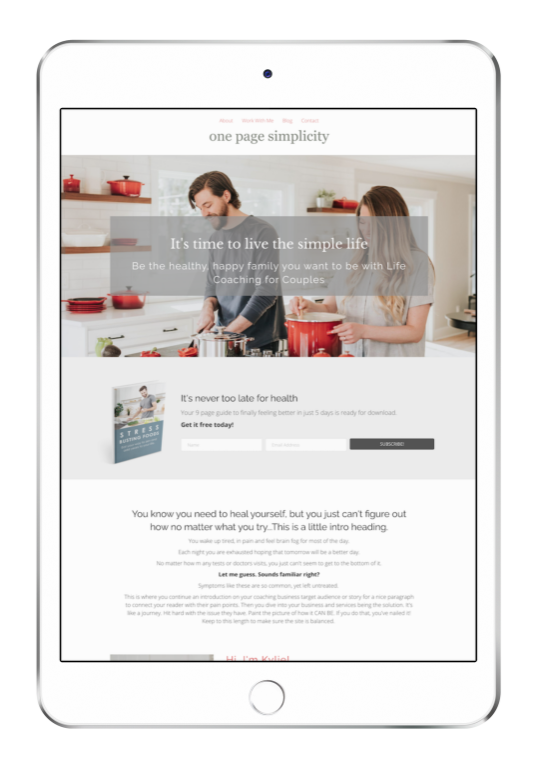 One Page Simplicity Website Template - simple one page website template design IPAD