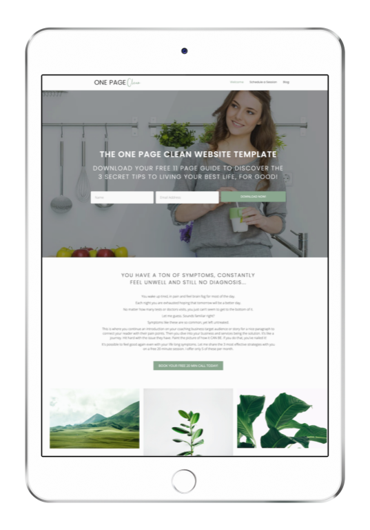 One page clean website design template ipad ipad