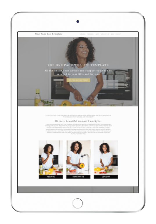 Zoe One Page Website Template for Coaches ipad